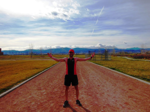 After a track interval workout, here's a glimpse of the dirt track with a view of the Front Range and Rocky Mountain Nat'l Park.